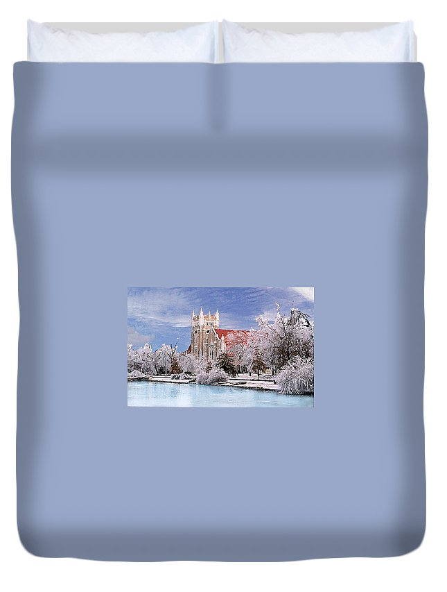 Winter Duvet Cover featuring the photograph Country Club Christian Church by Steve Karol