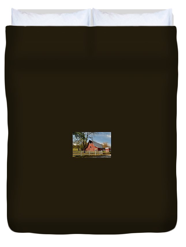 Farm Duvet Cover featuring the photograph Country Farm by Melody Meadows