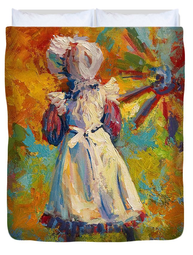 Figure Duvet Cover featuring the painting Country Girl by Marion Rose