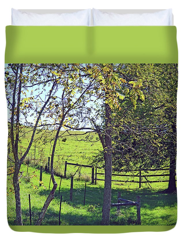 Blue Duvet Cover featuring the photograph Country Green by Cora Wandel