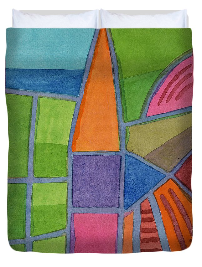 Abstract Duvet Cover featuring the painting Country Life by Heidi Capitaine