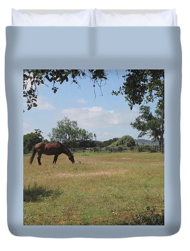 Horse Grazing In Field Duvet Cover featuring the photograph Country Life by Kevin Caudill