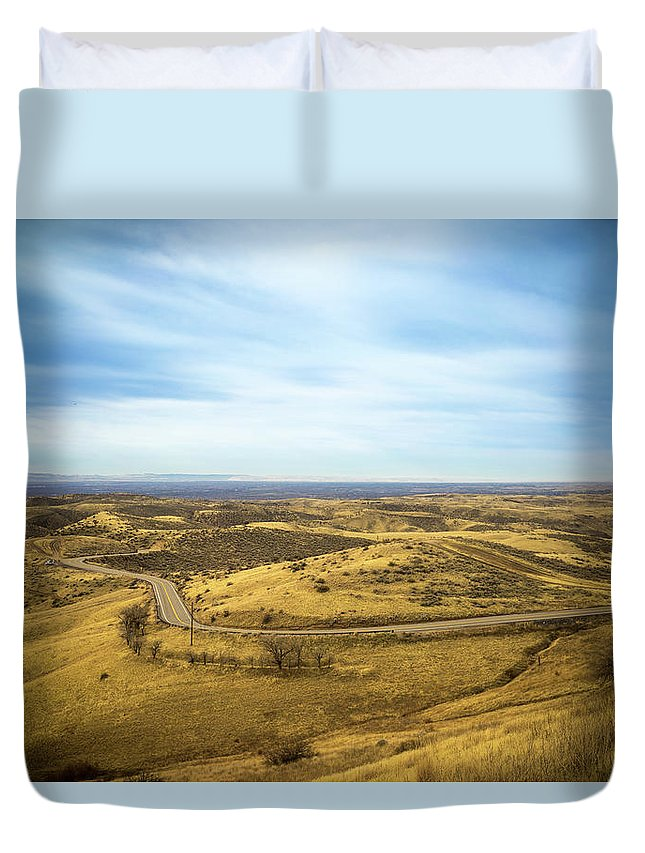 Bare Trees Duvet Cover featuring the photograph Country Mountain Roads by Paul Thompson