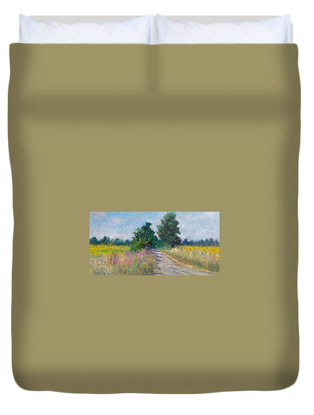 Painting Duvet Cover featuring the painting Country Path With Sunflowers by Biagio Chiesi