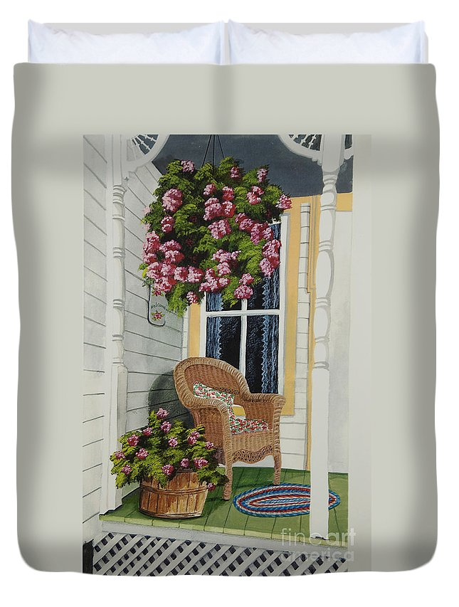 Country Porch Duvet Cover featuring the painting Country Porch by Charlotte Blanchard