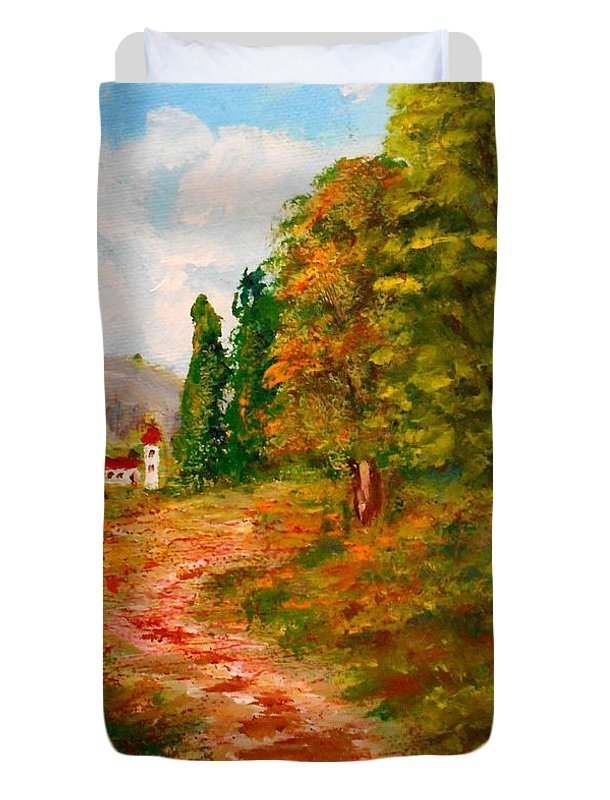Landscape Duvet Cover featuring the painting Country Road by Konstantinos Charalampopoulos