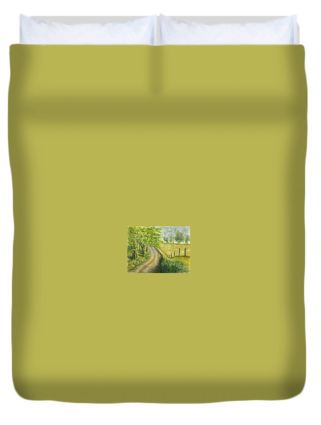 Country Duvet Cover featuring the painting Country Road by Mary Tuomi