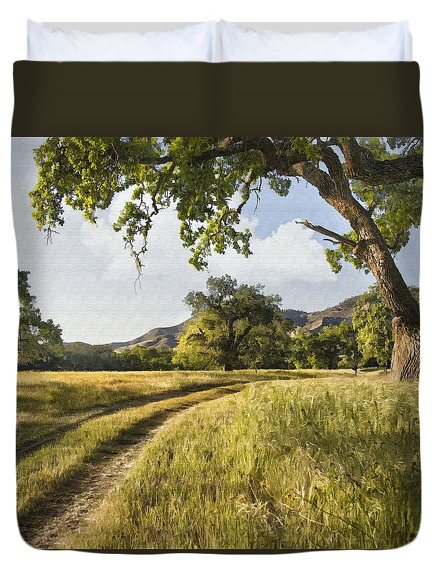 Landscape Duvet Cover featuring the digital art Country Road by Sharon Foster