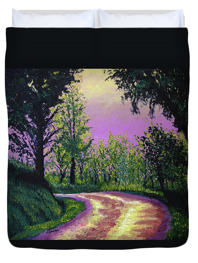 Landscape Duvet Cover featuring the painting Country Road by Stan Hamilton