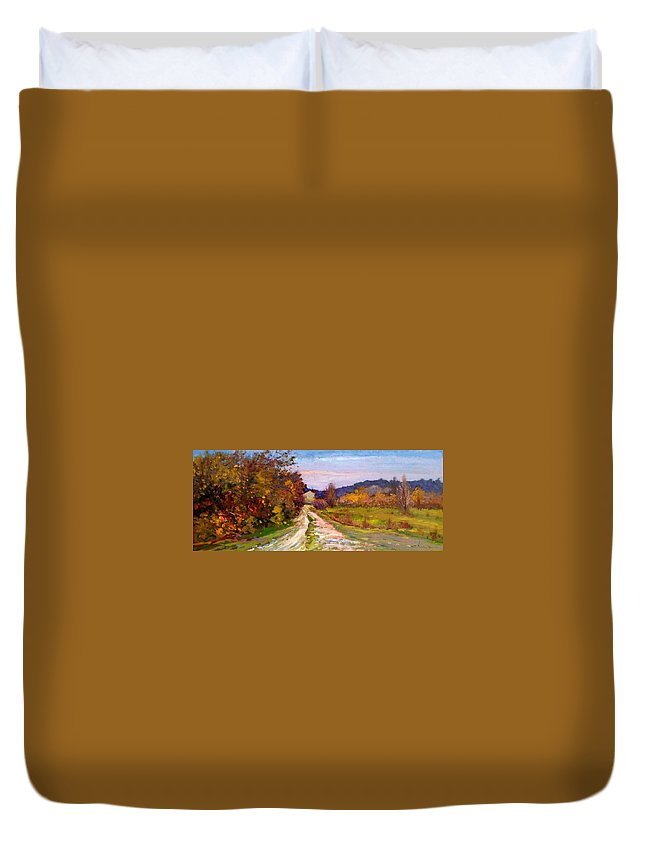 Painting Duvet Cover featuring the painting Country Road - Toscana by Biagio Chiesi