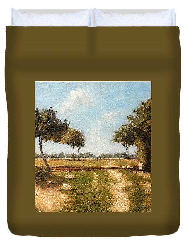 Landscape Duvet Cover featuring the painting Country Road with Trees by Darko Topalski