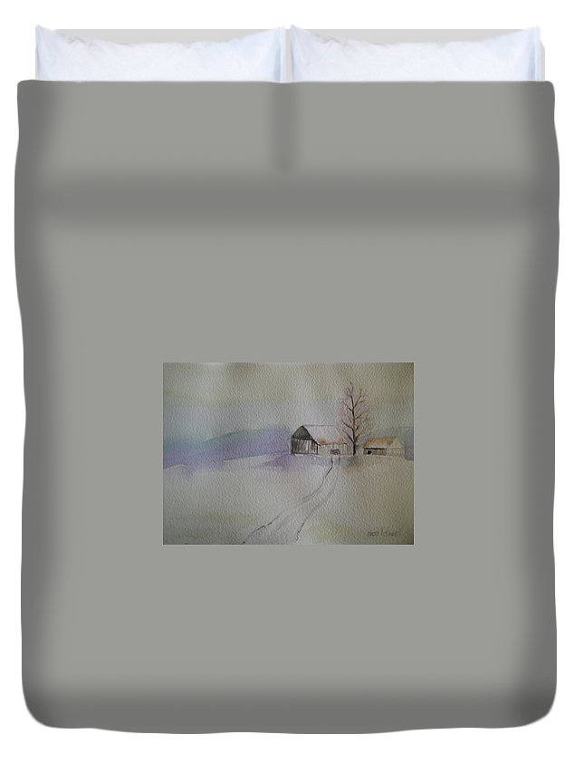 Barn Snow Winter Tree Landscape Cold Duvet Cover featuring the painting Country Snow by Patricia Caldwell