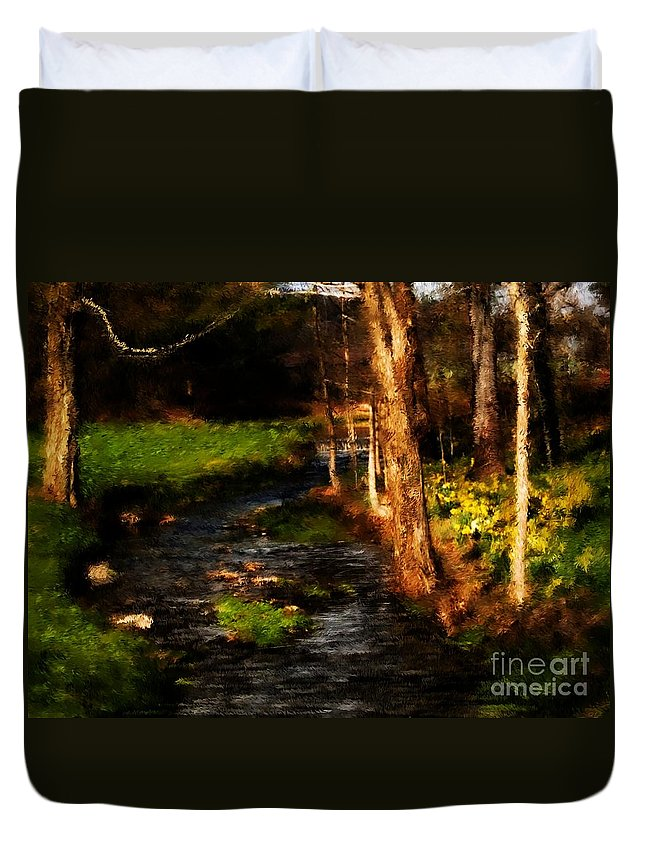 Digital Photo Duvet Cover featuring the photograph Country Stream by David Lane