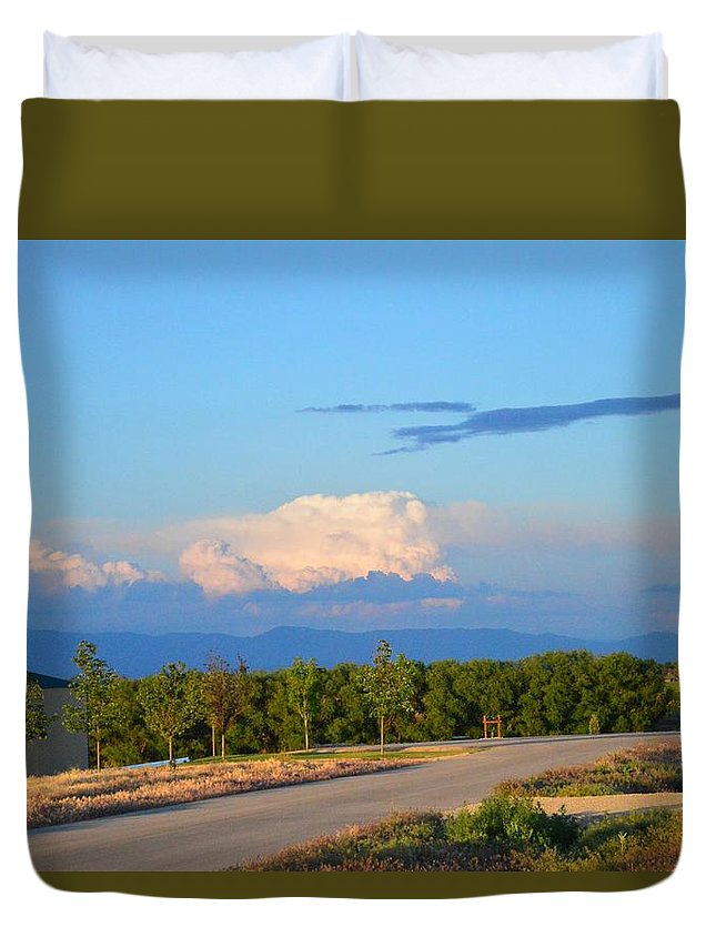 Clouds Duvet Cover featuring the photograph Country View by Kayla Craig