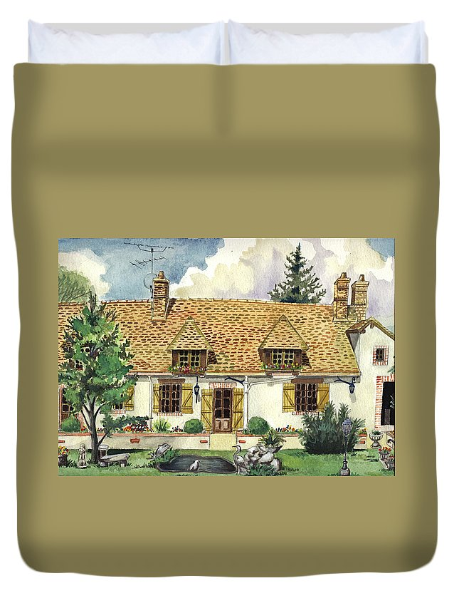 House Duvet Cover featuring the painting Countryside House In France by Alban Dizdari