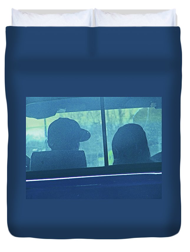 Abstract Duvet Cover featuring the photograph Couple In The Truck by Lenore Senior