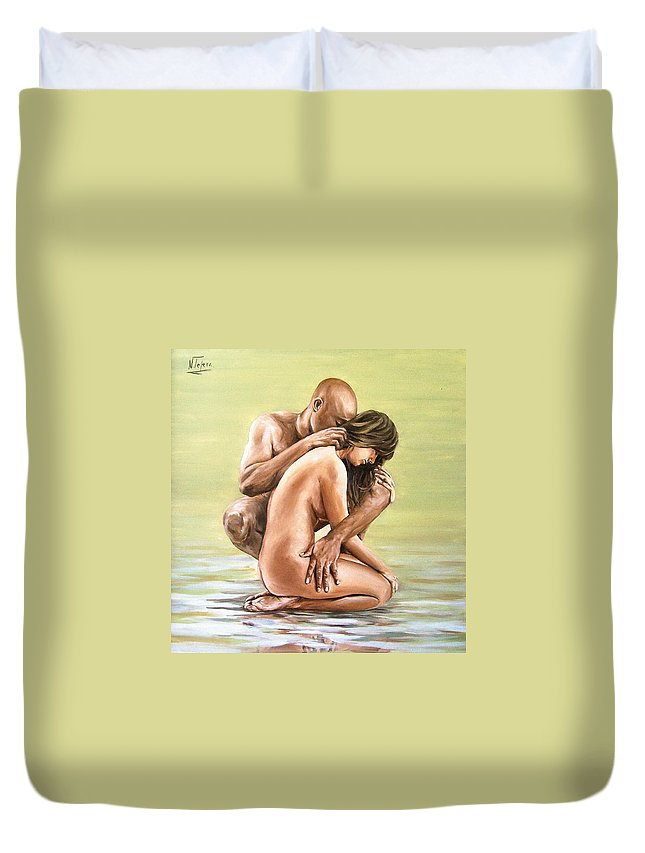 Nude Duvet Cover featuring the painting Couple by Natalia Tejera