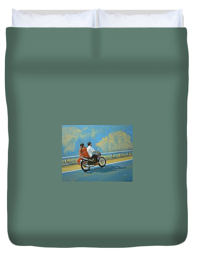 Couple Duvet Cover featuring the painting Couple Ride On Bike by Usha Shantharam
