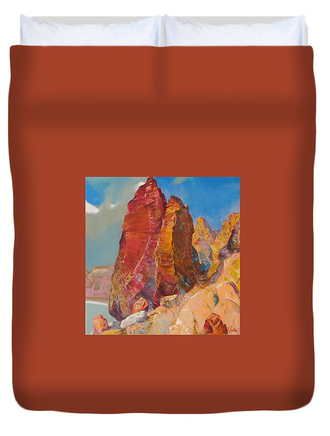 Landscape Duvet Cover featuring the painting Couple by Sergey Ignatenko