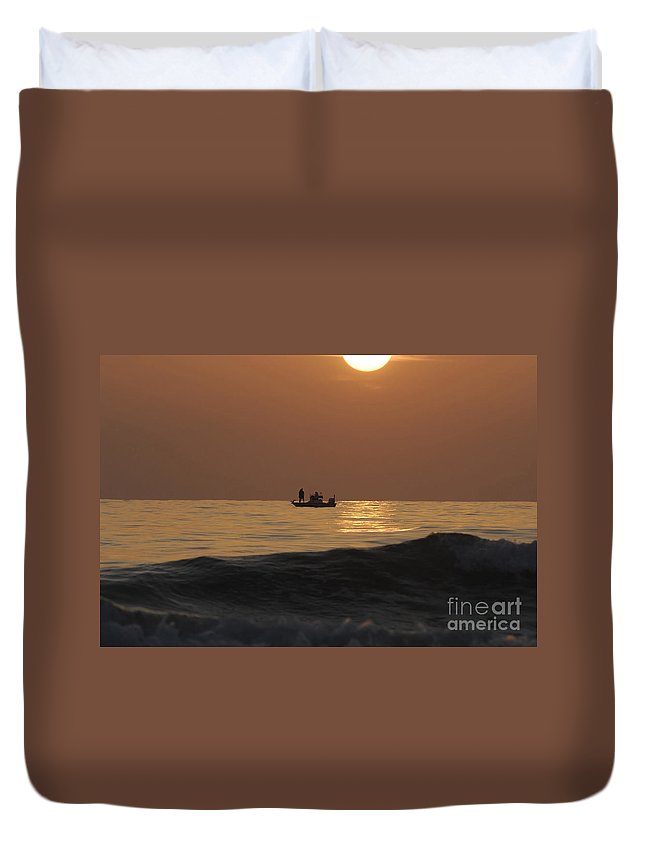 Sunset Duvet Cover featuring the photograph Couples At Sunset by David Lee Thompson