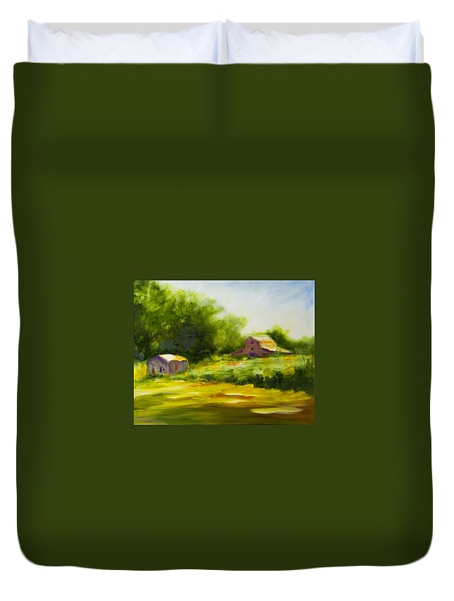 Landscape In Green Duvet Cover featuring the painting Courage by Shannon Grissom