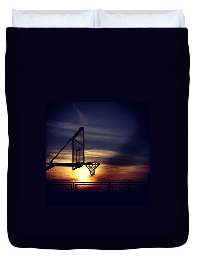 Sky Duvet Cover featuring the photograph Court by Jun Pinzon