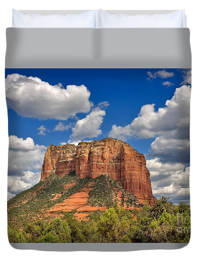 Travel Duvet Cover featuring the photograph Courthouse Butte by Louise Heusinkveld