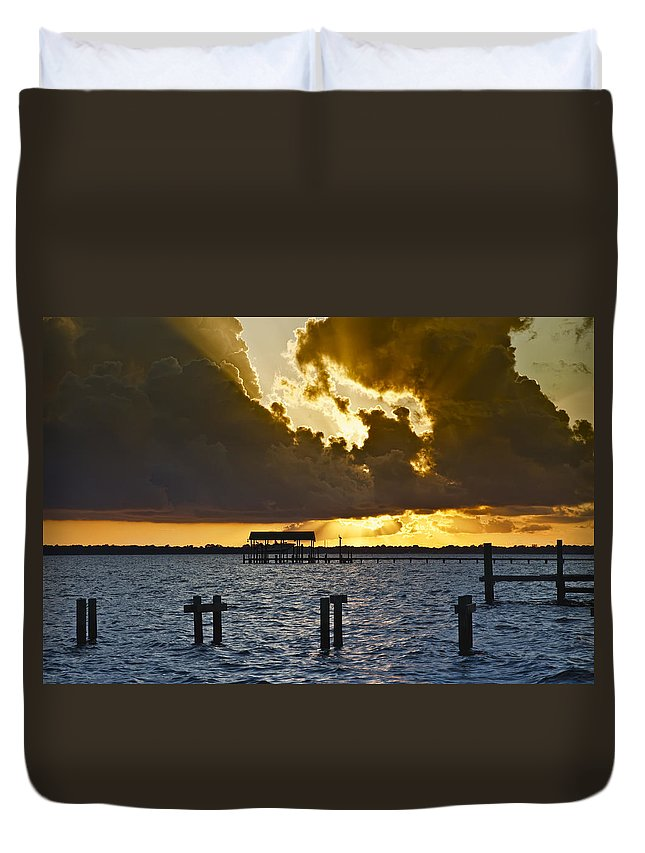 Bay Duvet Cover featuring the photograph Courtship by Janet Fikar