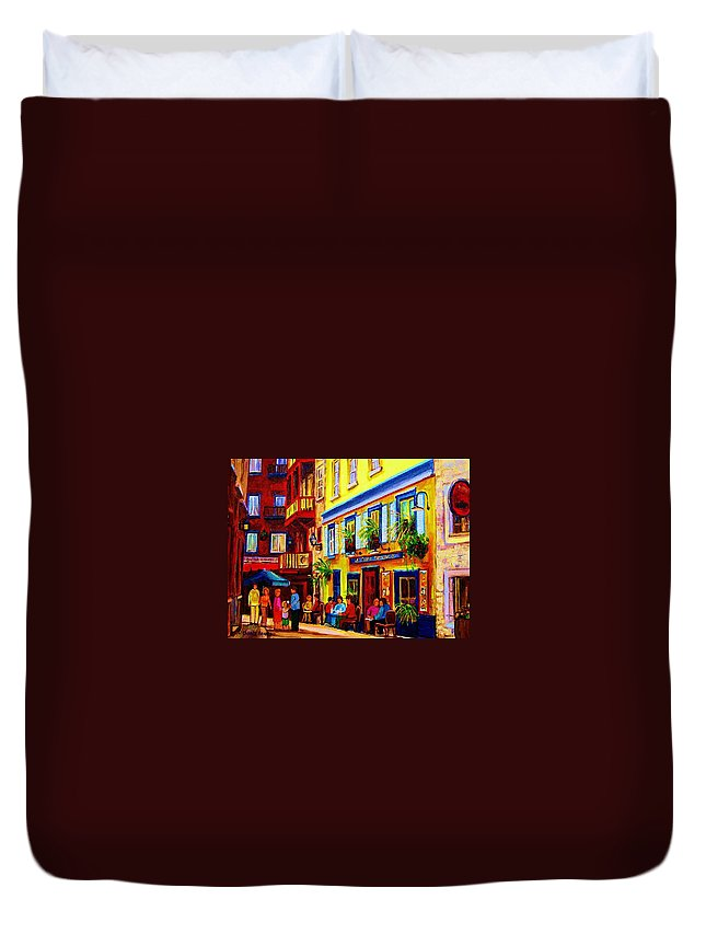 Courtyard Cafes Duvet Cover featuring the painting Courtyard Cafes by Carole Spandau