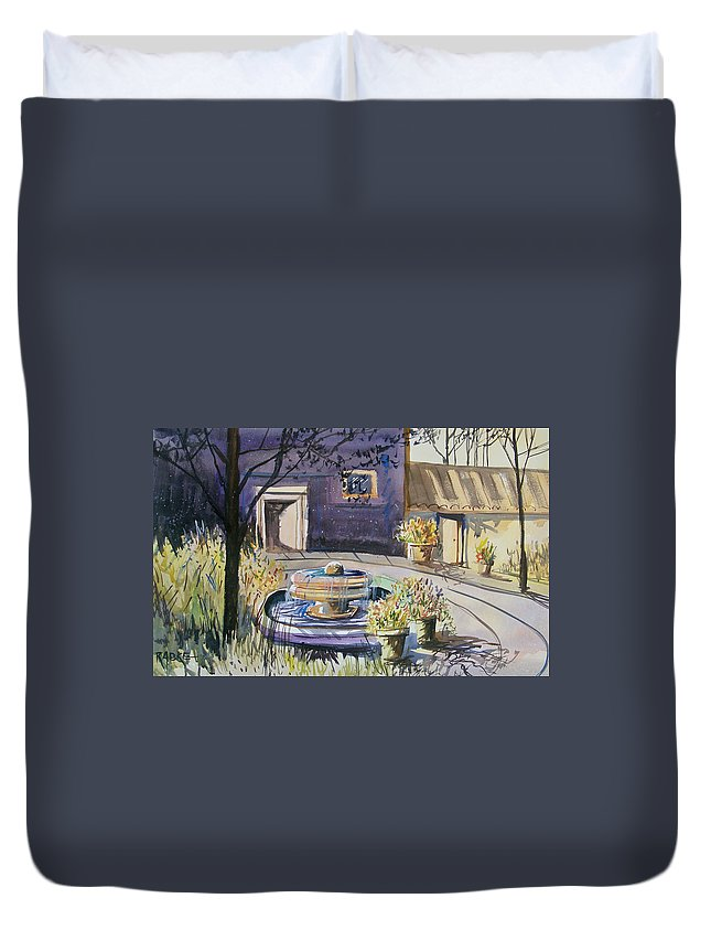 Watercolor Duvet Cover featuring the painting Courtyard In The Morning by Ryan Radke
