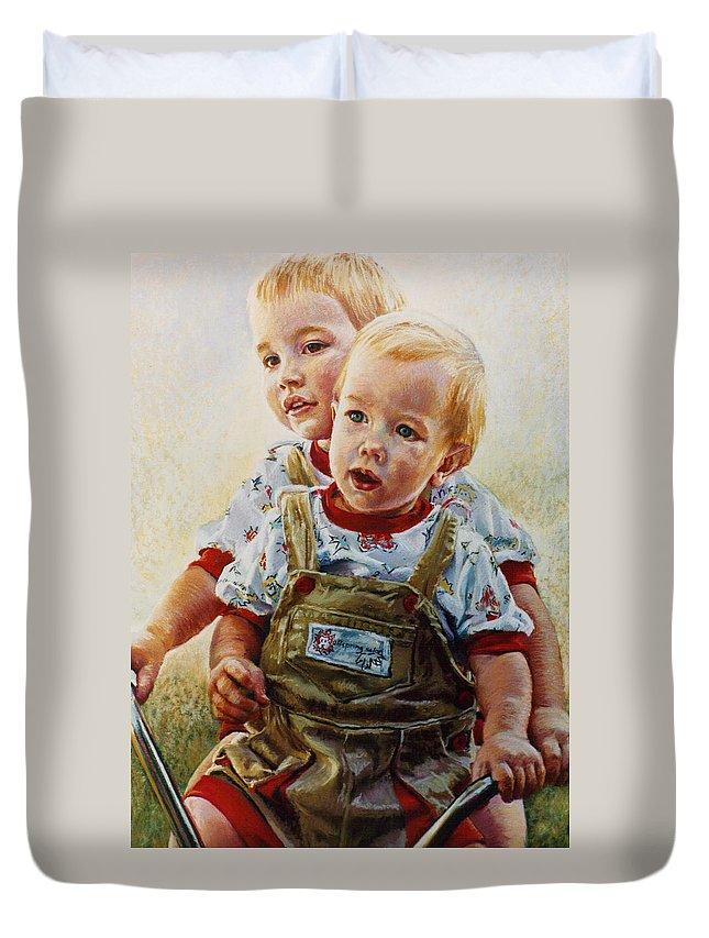 Pastel Portrait Duvet Cover featuring the pastel Cousins by Jean Hildebrant