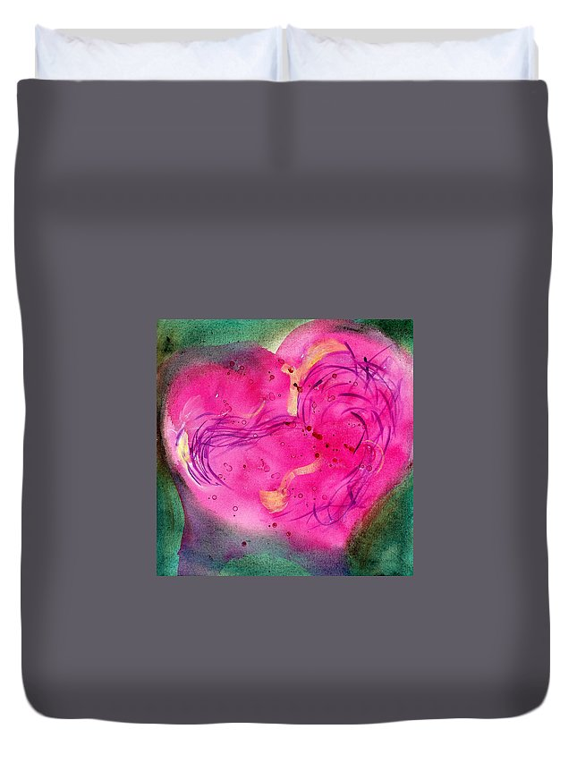 Duvet Cover featuring the painting Cover by Mary Leonard
