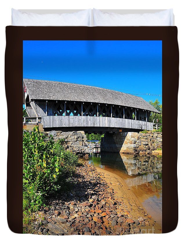 Nh Duvet Cover featuring the photograph Covered Bridge by Catherine Reusch Daley