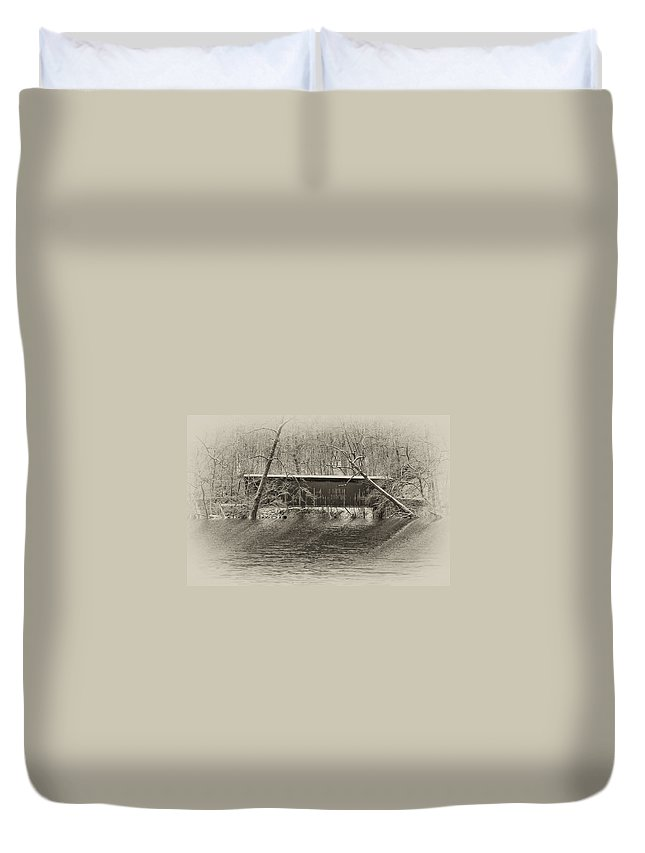Philadelphia Duvet Cover featuring the photograph Covered Bridge In Black And White by Bill Cannon