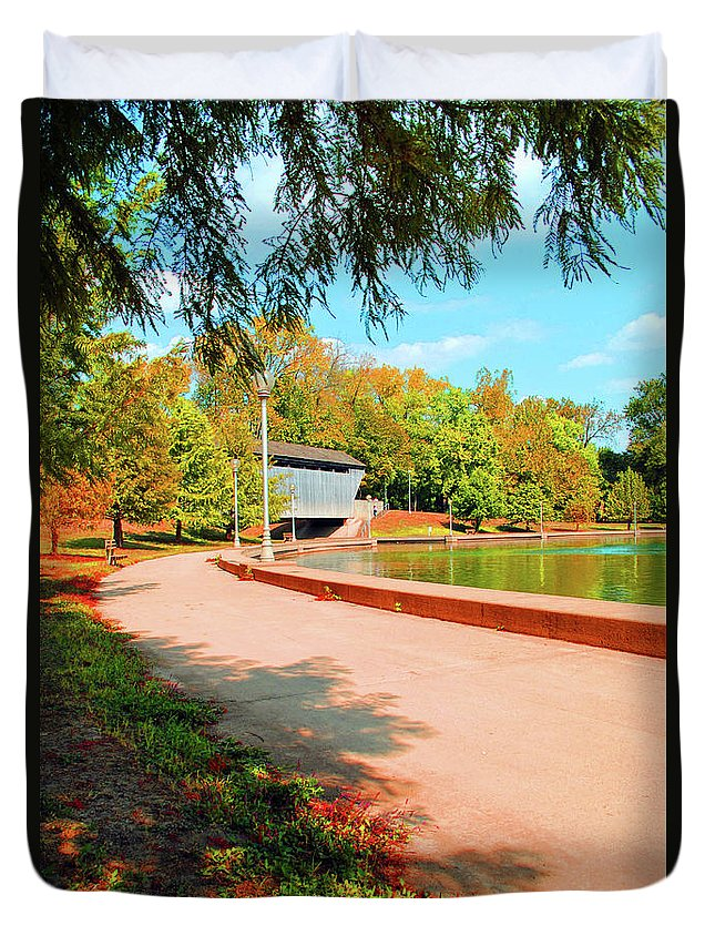 Covered Duvet Cover featuring the photograph Covered Bridge by Jost Houk