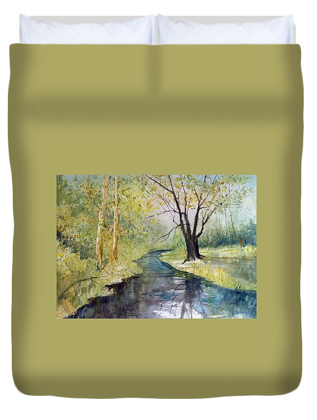 Watercolor Duvet Cover featuring the painting Covered Bridge Park by Ryan Radke