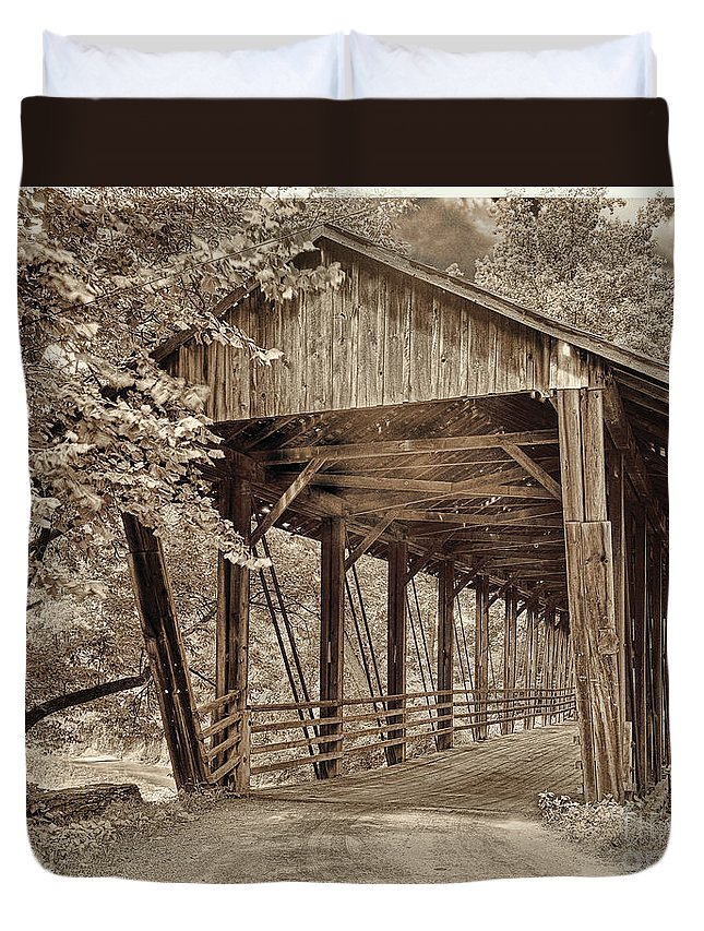 Covered Bridge Duvet Cover featuring the painting Covered Bridge Sepia Tone by Mindy Sommers