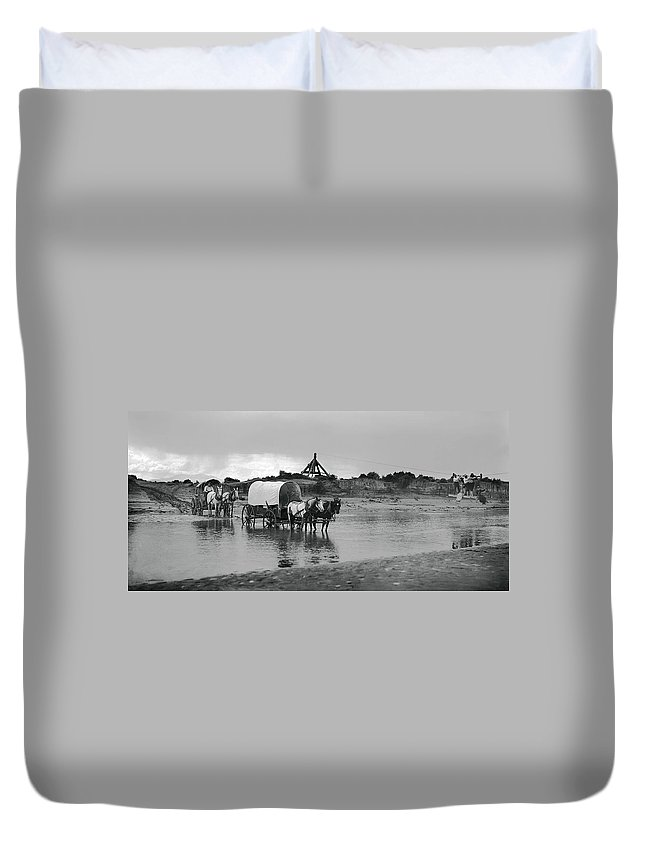 fording River Duvet Cover featuring the photograph Covered Wagon River Ford And Cable Ferry 1903 by Daniel Hagerman