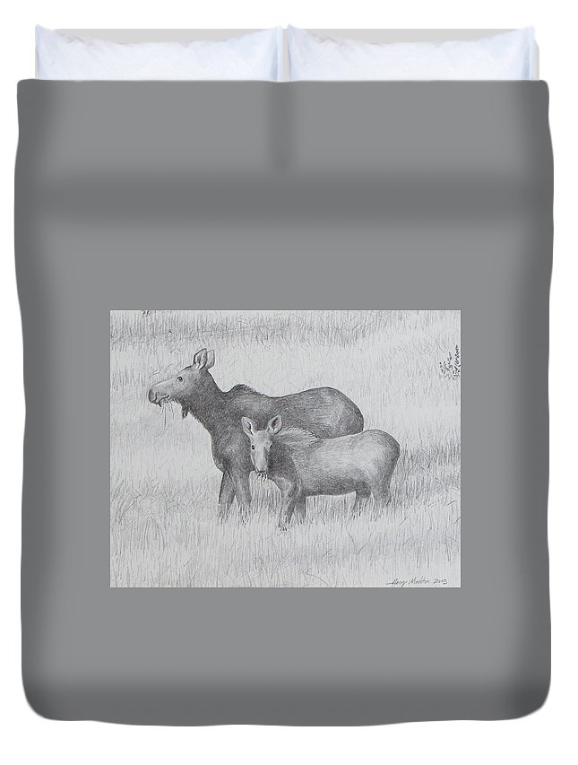 Moose Duvet Cover featuring the drawing Cow And Calf Moose by Harry Moulton