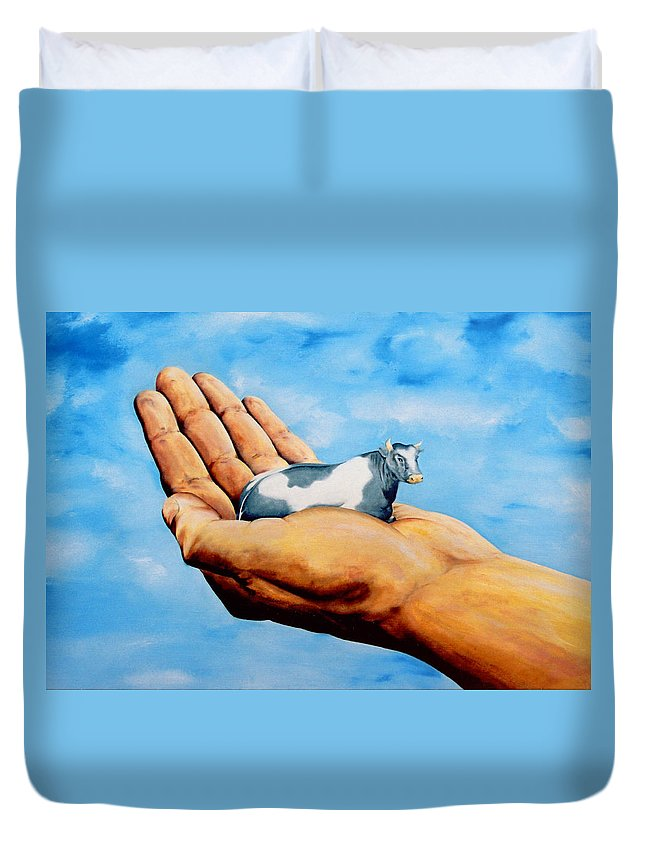 Surreal Duvet Cover featuring the painting Cow In Hand by Mark Cawood