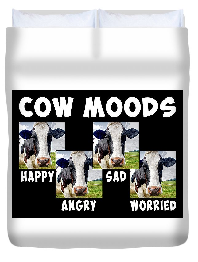Cow Duvet Cover featuring the mixed media Cow Moods by Dave Lee