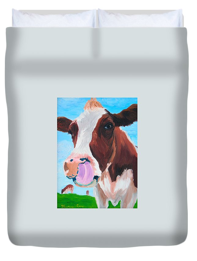 Cow Duvet Cover featuring the painting Cow Picking His Nose by Michael Lee