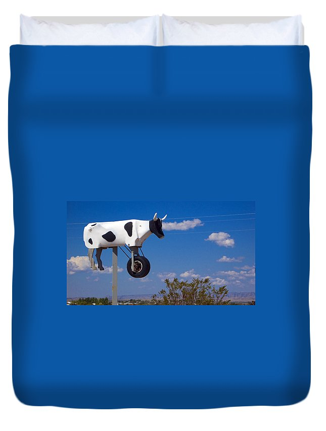 Cow Duvet Cover featuring the photograph Cow Power by Skip Hunt