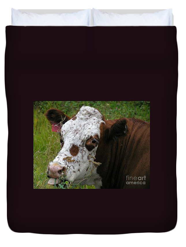 Tongue Duvet Cover featuring the photograph Cow Tongue by Louise Magno