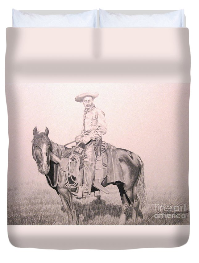 Western Duvet Cover featuring the drawing Cowboy by John Huntsman