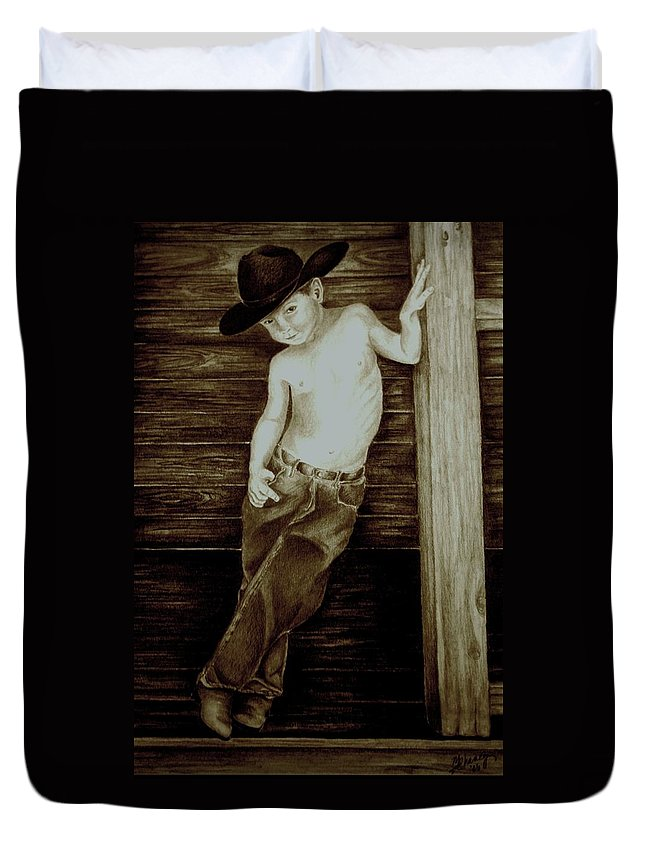 Cowboy Duvet Cover featuring the drawing Cowboy by Melissa Wiater Chaney