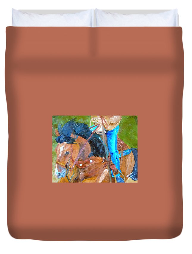 Horses Duvet Cover featuring the painting Cowboy Roping by Michael Lee