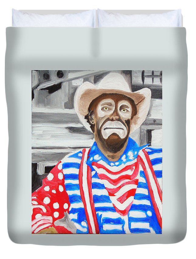 Rodeo Duvet Cover featuring the painting Cowboy Savior by Michael Lee