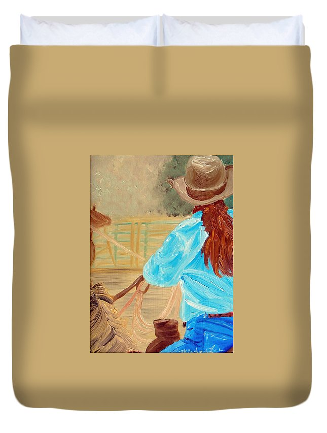 Horses Duvet Cover featuring the painting Cowgirl Roping by Michael Lee