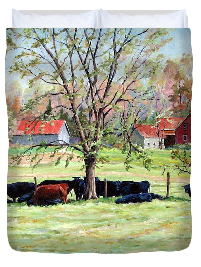 Cows Duvet Cover featuring the painting Cows Grazing In One Field by Richard T Pranke